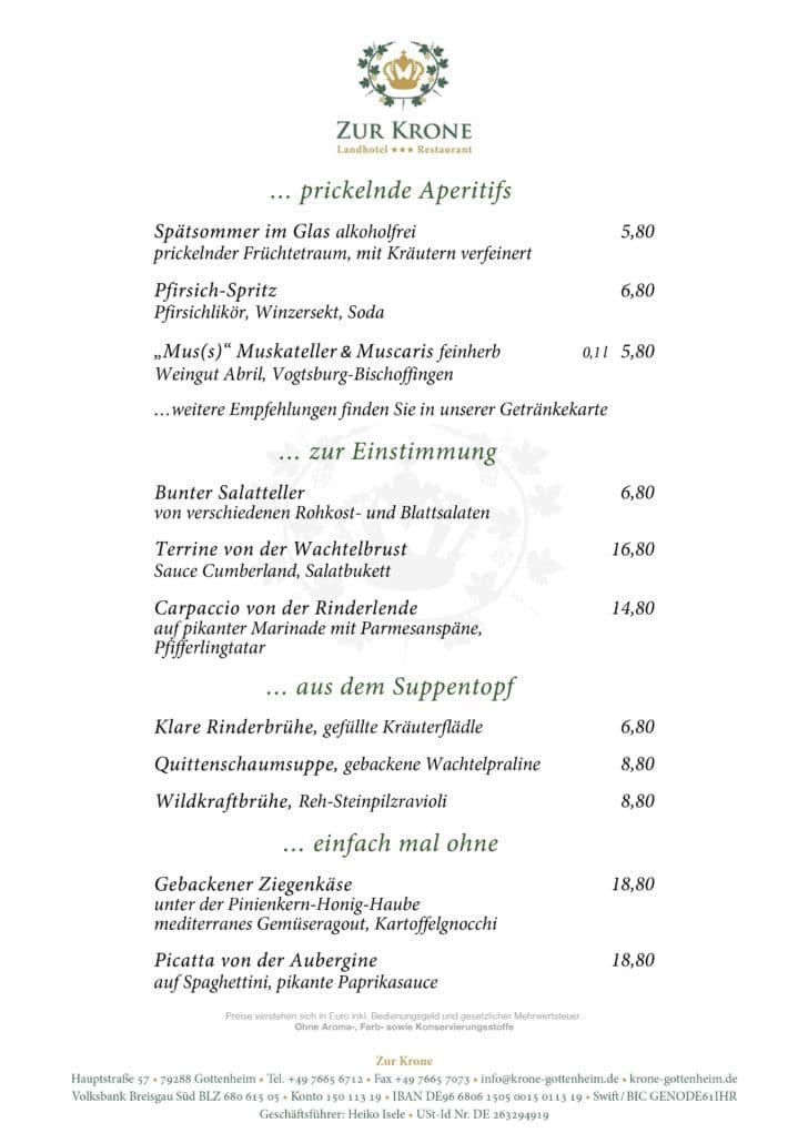 Zur Krone Gottenheim Speisekarte Herbst 2021